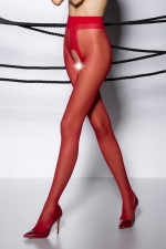 Collants ouverts TI007 - rouge - Collants ouverts en voile rouge 20 deniers.