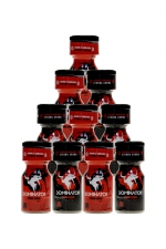 Pack 10 poppers Dominator 10ml : Pack de 5 poppers Red Dominator 10ml hybride + 5 poppers Black Dominator 10ml à l'Amyle.