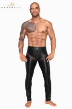 Pantalon wetlook et filet H059 - Pantalon moulant en powerwetlook mat et empiècements transparents de filet 3D, tout cela ultra sexy !